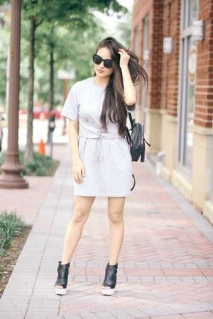 black mini Violet Ray bag - heather gray corset tshirt asos dress