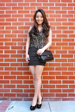 black bandage Diva in Me dress - black vintage Bally bag - black Candies heels