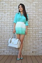 aquamarine Forever 21 blouse - ivory oversized coach bag