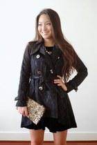 navy velvet skater Aeropostale dress - navy lace trench Spiegel coat