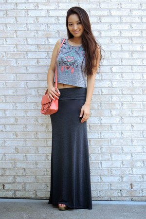 heather gray maxi Charlotte Russe skirt - coral crossbody deb bag
