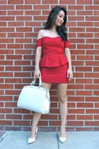 red deb dress - white Louis Vuitton bag - white pointed-toe BCBGMAXAZRIA heels
