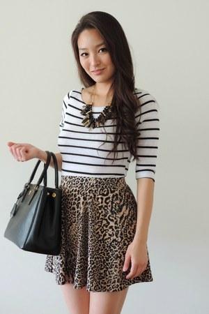 black striped Danice Stores top - black Prada bag - brown deb skirt