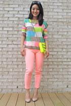 light blue printed neon madewell sweater - yellow Rebecca Minkoff bag