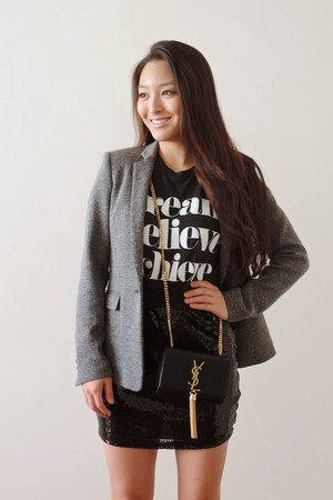 black crossbody YSL bag - charcoal gray Theory blazer