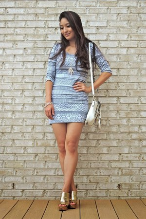 heather gray tribal print Trixxi Clothing dress - white LucyMint bag