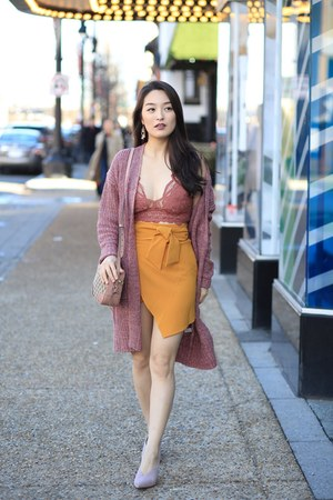 mustard high waisted asos skirt - bubble gum oversized Moxie Apparel cardigan