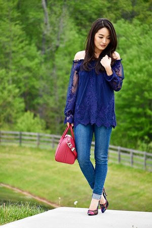 deep purple Marled top - navy skinny Levis jeans
