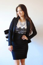 black peplum Ustrendy blazer - white lace New frog dress