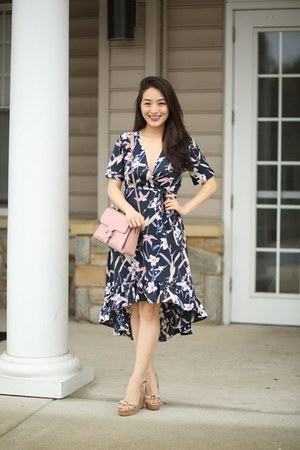 navy floral maxi asos dress - pink Gucci bag