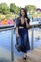 navy Almost Famous jeans - black bralette free people top