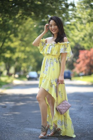 yellow high low floral Red Dress Boutique dress