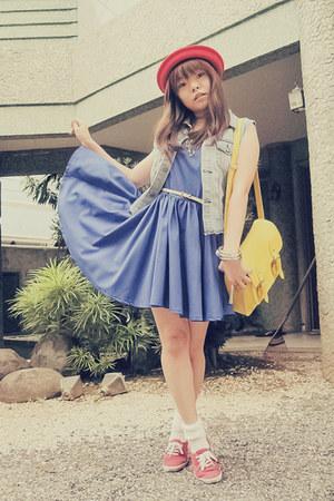 red sm accessories hat - blue SM GTW dress - yellow GlamRock Manila bag