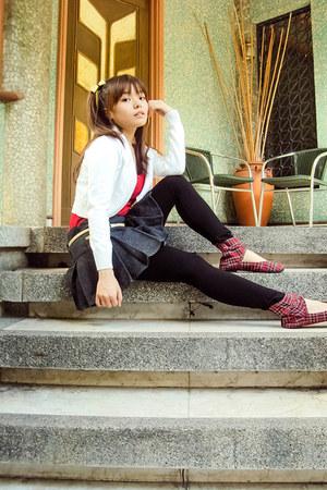 ruby red SUGARKIDS shoes - red baleno top - white SM ladies fashion cardigan