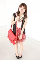red satchel bag - ivory sm department store top - black sm department store vest