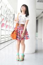 orange satchel bag - aquamarine Forever 21 socks - brown sm accessories belt