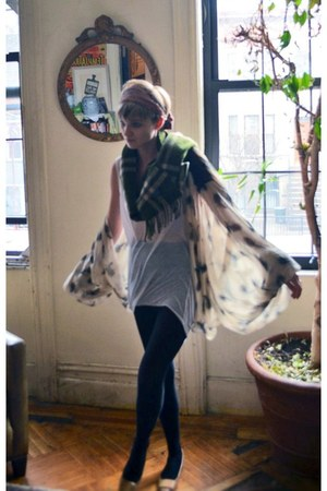 ivory sheer Helmut Lang dress - green giant check Burberry scarf