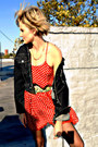 Maroon-polkadot-sparkle-and-fade-dress-black-vintage-guess-jacket