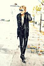 black knee-high boots Miu Miu heels - black nylon Kaylee Tankus jacket
