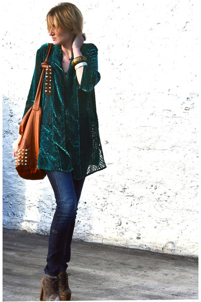 teal bob mackie vintage cardigan - dark brown ankle Charlotte Ronson boots