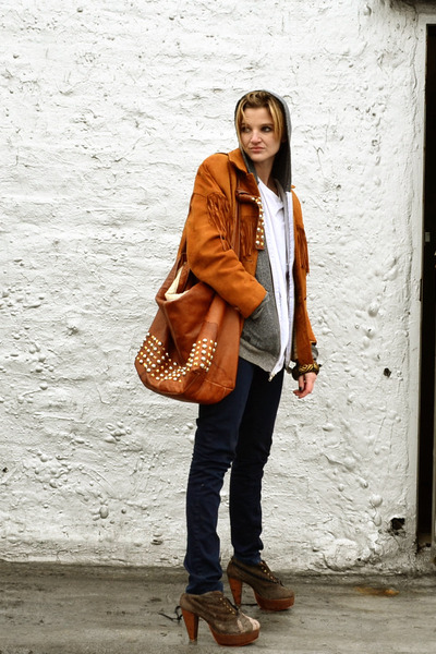 tawny fringed vintage jacket - dark brown ankle boots Charlotte Ronson boots