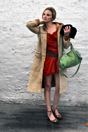 teal leather balenciaga bag - red silk vintage dress - camel suede Theory coat
