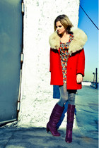 red mod vintage coat - amethyst knee high botkier boots - 60s vintage dress