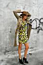Thrifted-vintage-dress-trench-coat-gryphon-coat-fedora-filson-hat