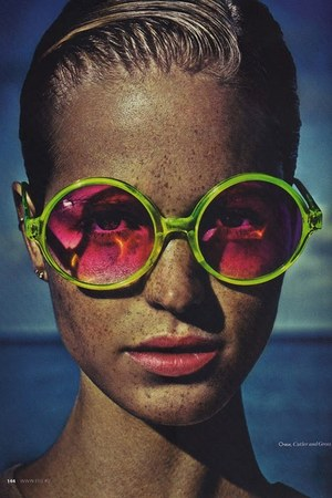 chartreuse round oversized cutler and gross sunglasses