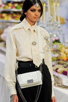 white Chanel bag - ivory Chanel blouse - black Chanel skirt - black Chanel belt