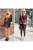 beige boots - black boots - black blazer - dark brown pants