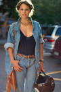 Light-blue-jeans-light-blue-jacket-navy-top-tawny-belt-bronze-necklace-