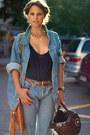 Light-blue-jeans-light-blue-jacket-navy-top-tawny-belt-bronze-necklace-