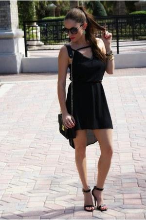 black Tobi dress - black chain Forever 21 bag - Lulus heels