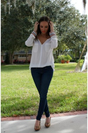Tria blouse - skinny jeans hollister jeans - faux leather Forever 21 shorts