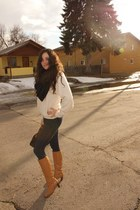 vintage cobbies boots - worthington jeggings jeans - DIY scarf - vintage arnold