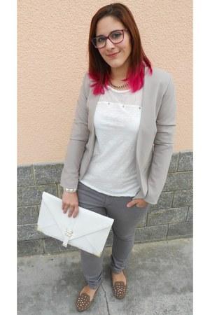 white Local shop shirt - heather gray ovs jeans - beige Local shop blazer