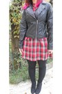 Black-leather-jacket-pimkie-jacket-red-jennyfer-dress-black-pimkie-leggings