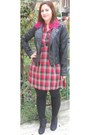 Red-jennyfer-dress-black-leather-jacket-pimkie-jacket-black-pimkie-leggings