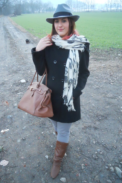 silver H&M hat - brown mauro boots - black Combipel coat - silver ovs jeans