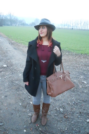 brown mauro boots - black Combipel coat - silver ovs jeans - brown no brand bag