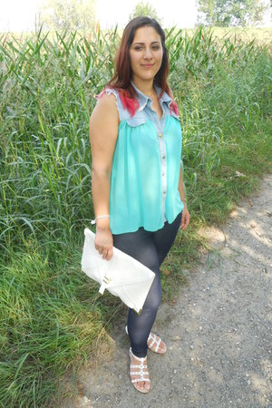 aquamarine no brand blouse - navy no brand jeans - white asos bag