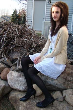 thrifted sweater - thrifted dress - tights - thrifted shoes - Forever21 necklace