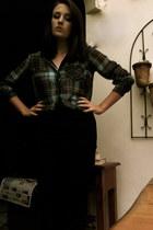 black high waisted H&M pants - teal chiffon Bershka shirt