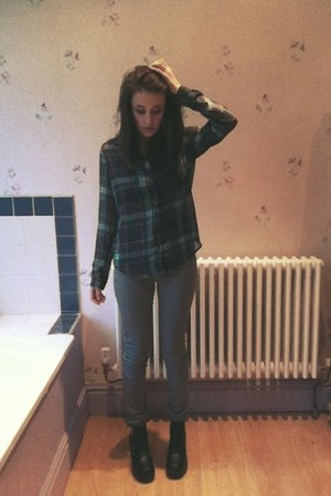 teal chiffon Bershka shirt - black leather look H&M boots
