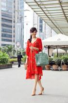red Miss Selfridge dress - aquamarine Celine bag - bronze gold heels Zara heels