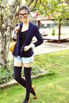 cotton Zara blazer - denim sass & bide shorts - Topshop socks