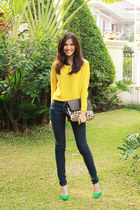 yellow knit H&M jumper - navy high waisted Cheap Monday jeans