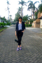 moms blazer - Zara t-shirt - BloopEndorse pants - Chanel accessories - pedder re