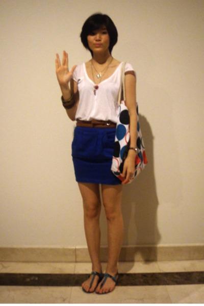 blue Zara skirt - green Zara shoes - white polka dot bag next accessories
